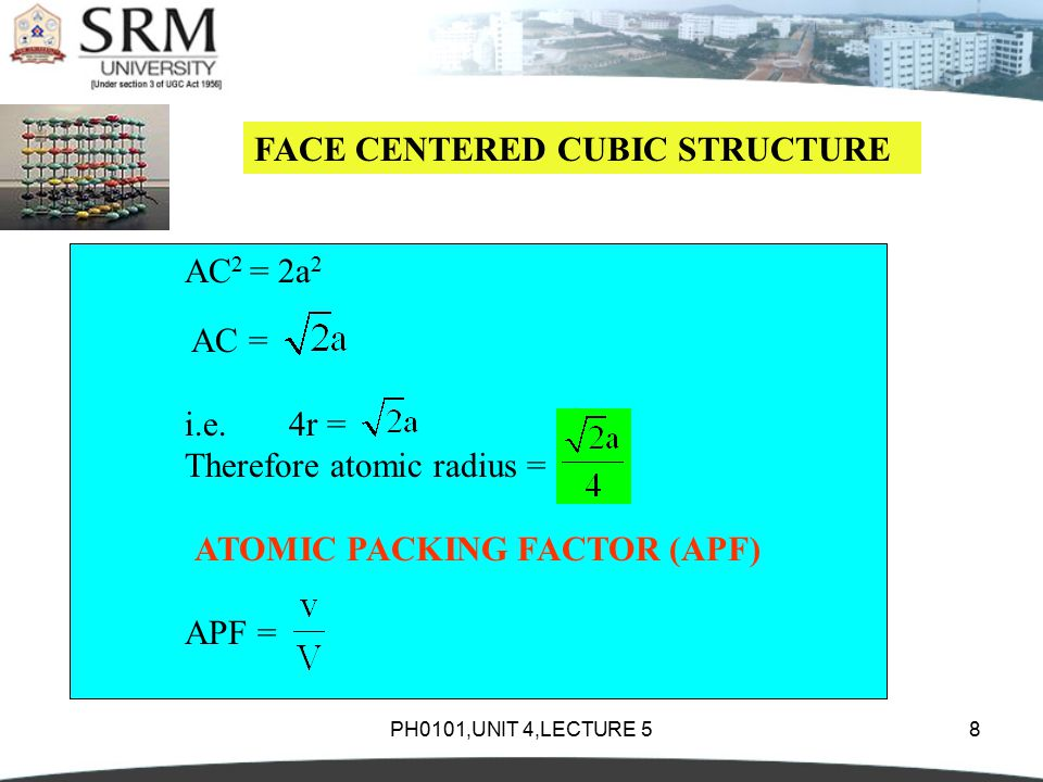 PH0101,UNIT 4,LECTURE 58 FACE CENTERED CUBIC STRUCTURE AC 2 = 2a 2 AC = i.e.4r = Therefore atomic radius = ATOMIC PACKING FACTOR (APF) APF =