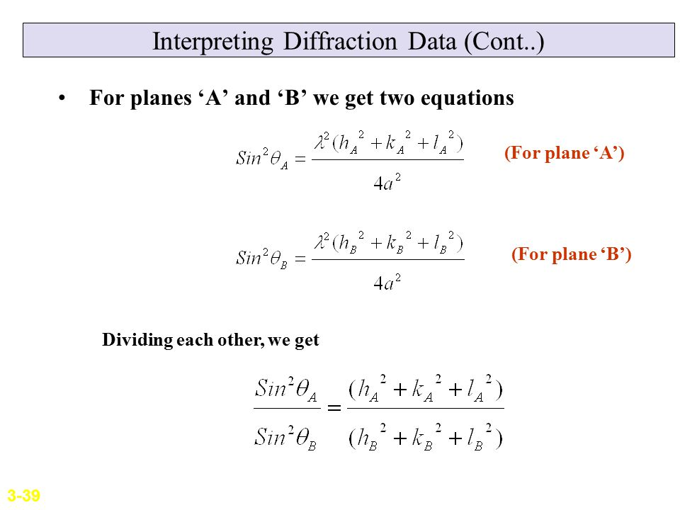 Interpreting Diffraction Data (Cont..) For planes 'A' and 'B' we get two equations (For plane 'A') (For plane 'B') Dividing each other, we get 3-39