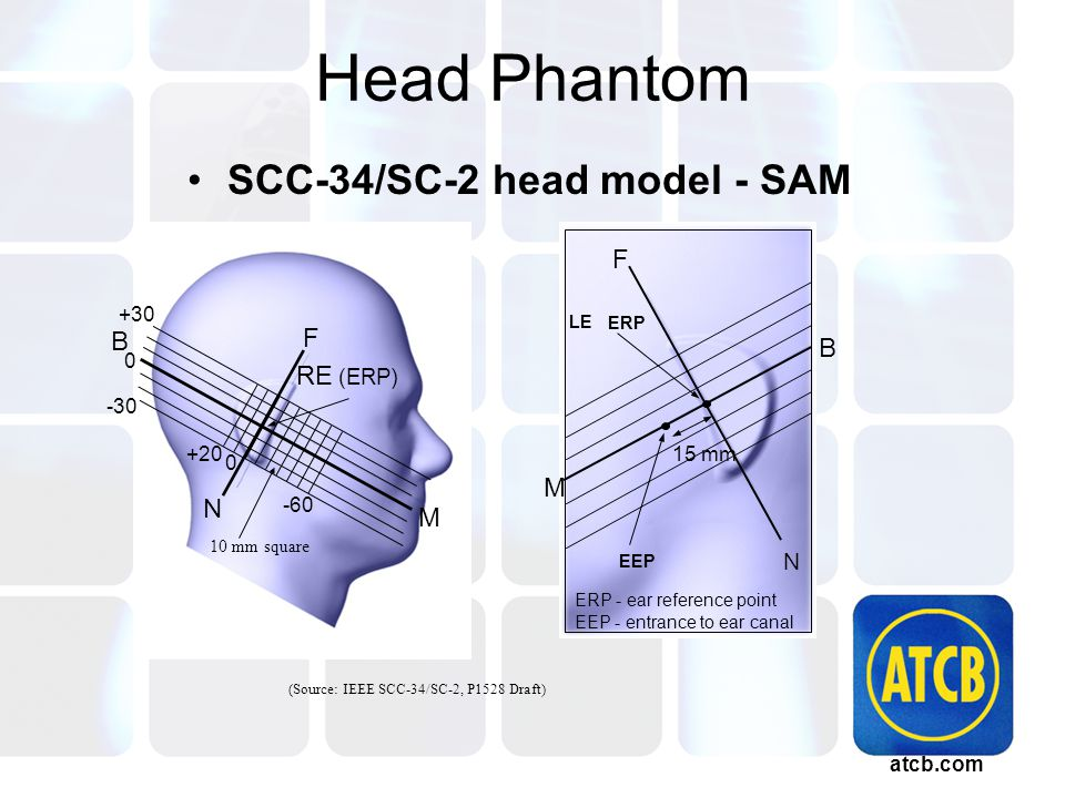 atcb.com Head Phantom SCC-34/SC-2 head model - SAM (Source: IEEE SCC-34/SC-2, P1528 Draft) ERP EEP - entrance to ear canal 15 mm M B LE F ERP - ear reference point EEP M B -30 N F +30 0 +20 0 -60 RE (ERP) 10 mm square N