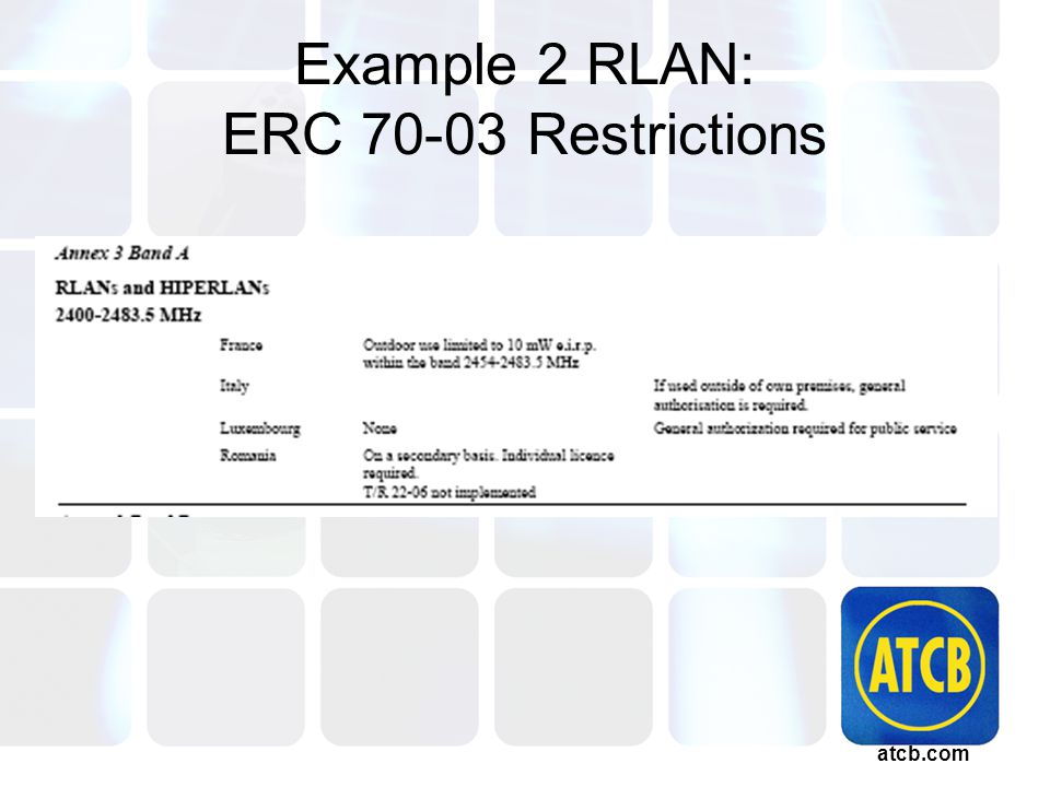 atcb.com Example 2 RLAN: ERC 70-03 Restrictions
