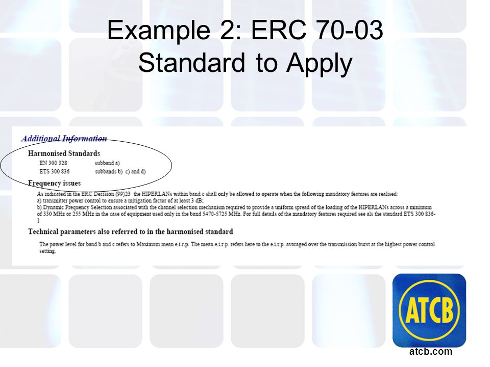 atcb.com Example 2: ERC 70-03 Standard to Apply