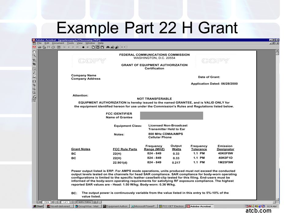 atcb.com Example Part 22 H Grant