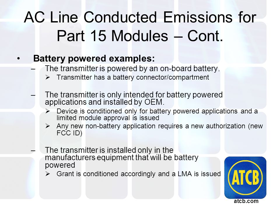 atcb.com AC Line Conducted Emissions for Part 15 Modules – Cont.