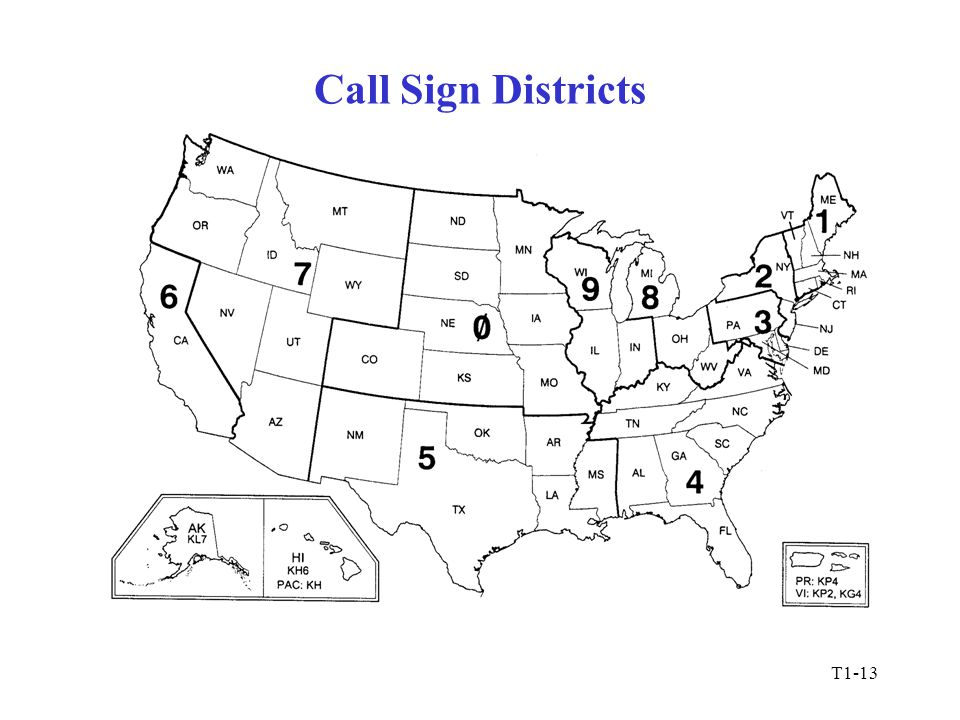 T1-13 Call Sign Districts