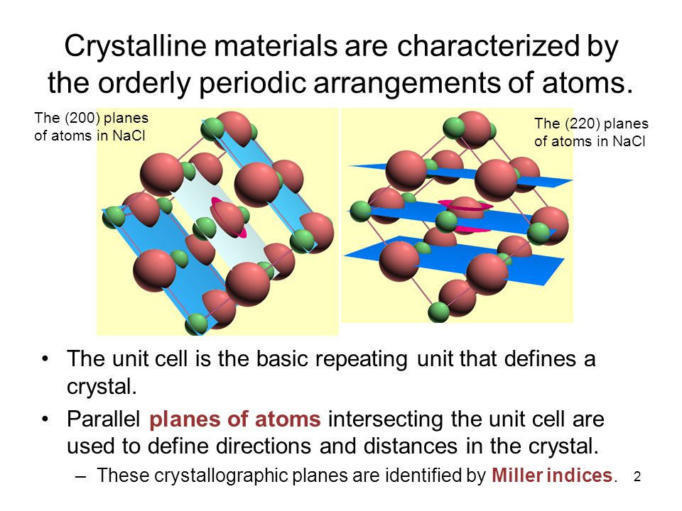 2 Crystalline materials are characterized by the orderly periodic arrangements of atoms. The unit cell is the basic repeating unit that defines a crys