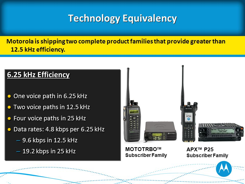 Technology Equivalency 6.25 kHz Efficiency ● One voice path in 6.25 kHz ● Two voice paths in 12.5 kHz ● Four voice paths in 25 kHz ● Data rates: 4.8 kbps per 6.25 kHz – 9.6 kbps in 12.5 kHz – 19.2 kbps in 25 kHz 6.25 kHz Efficiency ● One voice path in 6.25 kHz ● Two voice paths in 12.5 kHz ● Four voice paths in 25 kHz ● Data rates: 4.8 kbps per 6.25 kHz – 9.6 kbps in 12.5 kHz – 19.2 kbps in 25 kHz Motorola is shipping two complete product families that provide greater than 12.5 kHz efficiency.