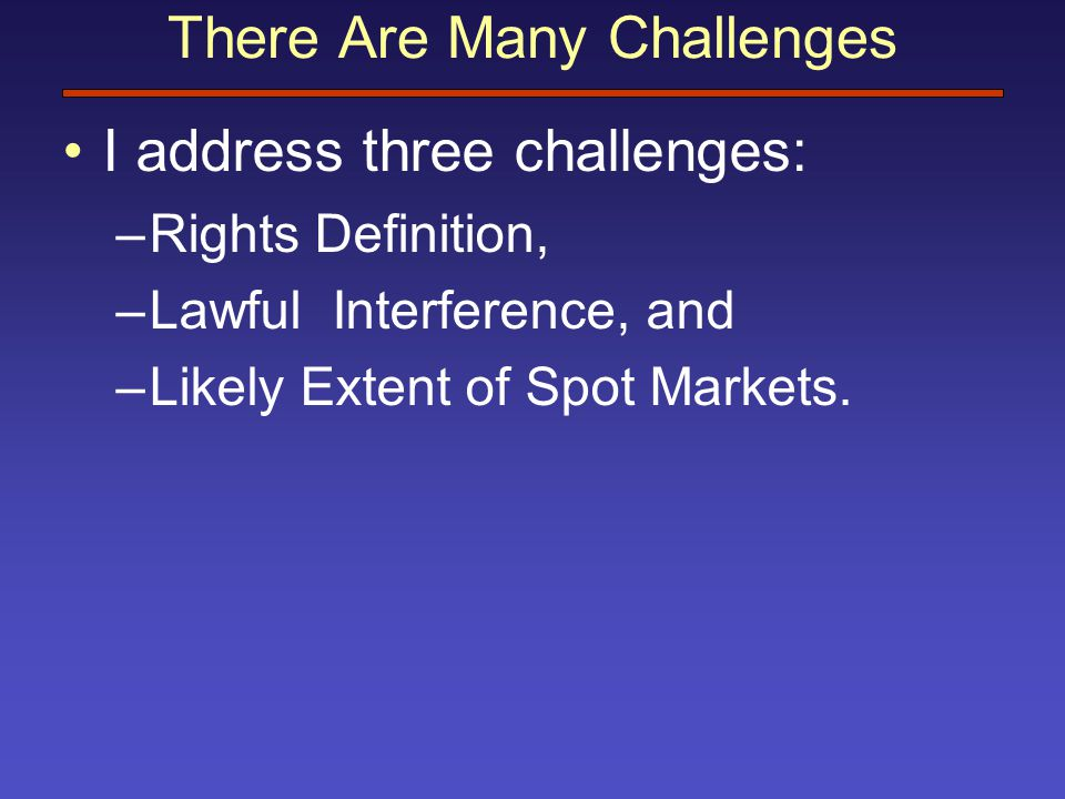 There Are Many Challenges I address three challenges: –Rights Definition, –Lawful Interference, and –Likely Extent of Spot Markets.