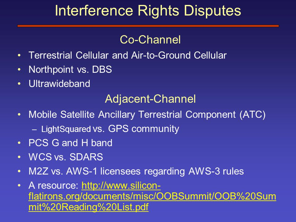 Interference Rights Disputes Co-Channel Terrestrial Cellular and Air-to-Ground Cellular Northpoint vs.