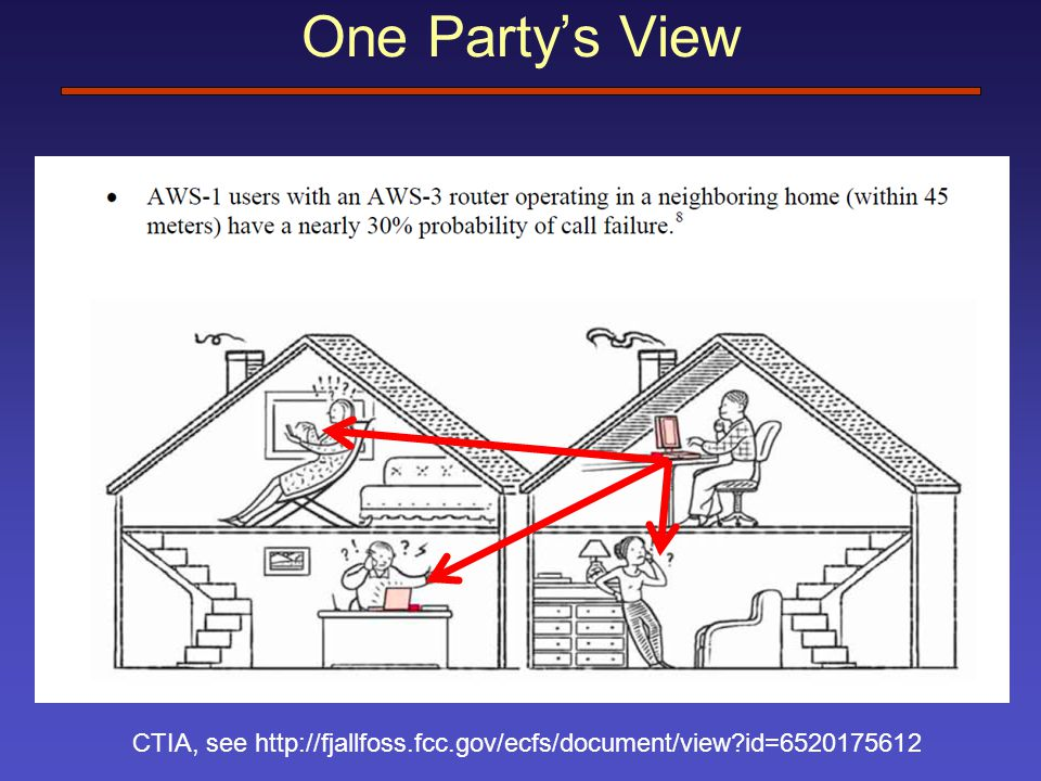 One Party's View CTIA, see http://fjallfoss.fcc.gov/ecfs/document/view id=6520175612