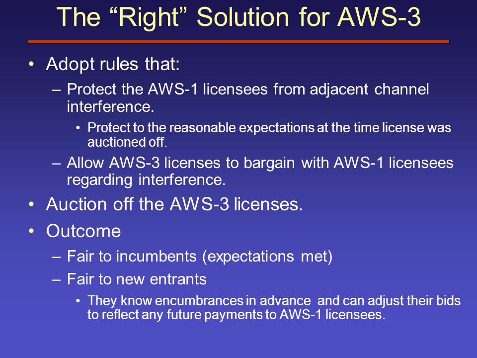 The Right Solution for AWS-3 Adopt rules that: –Protect the AWS-1 licensees from adjacent channel interference.