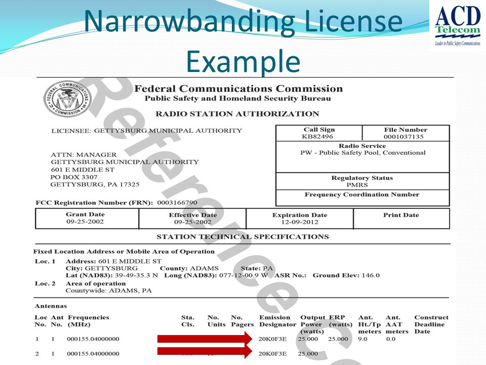 Narrowbanding License Example