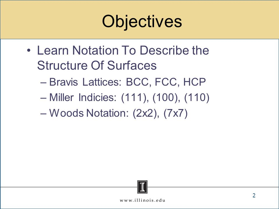 Objectives Learn Notation To Describe the Structure Of Surfaces –Bravis Lattices: BCC, FCC, HCP –Miller Indicies: (111), (100), (110) –Woods Notation: (2x2), (7x7) 2