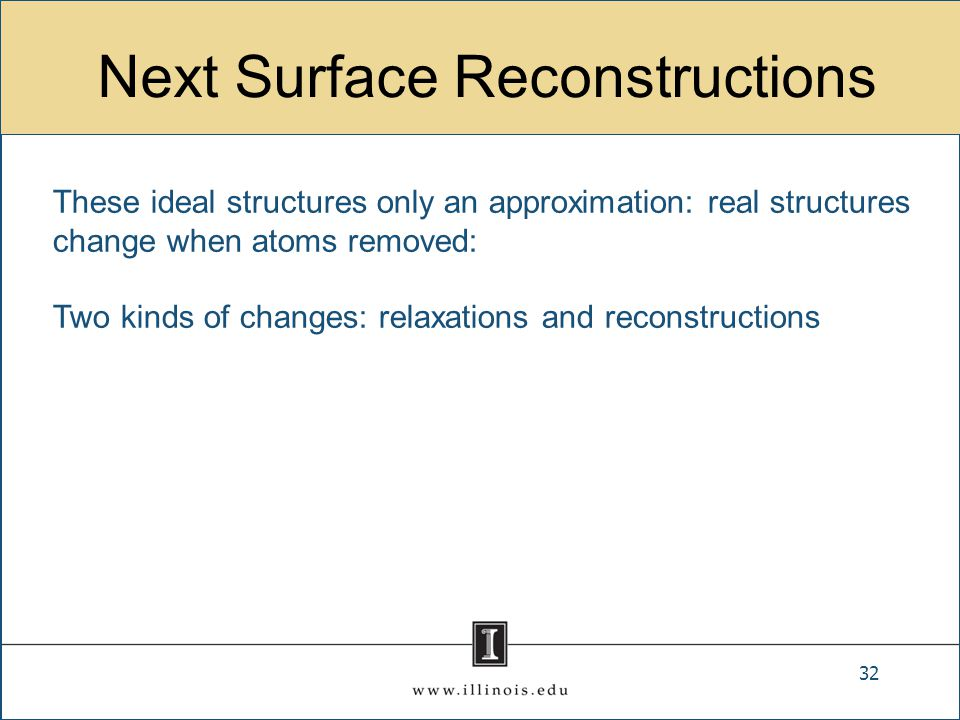 Next Surface Reconstructions 32 These ideal structures only an approximation: real structures change when atoms removed: Two kinds of changes: relaxations and reconstructions