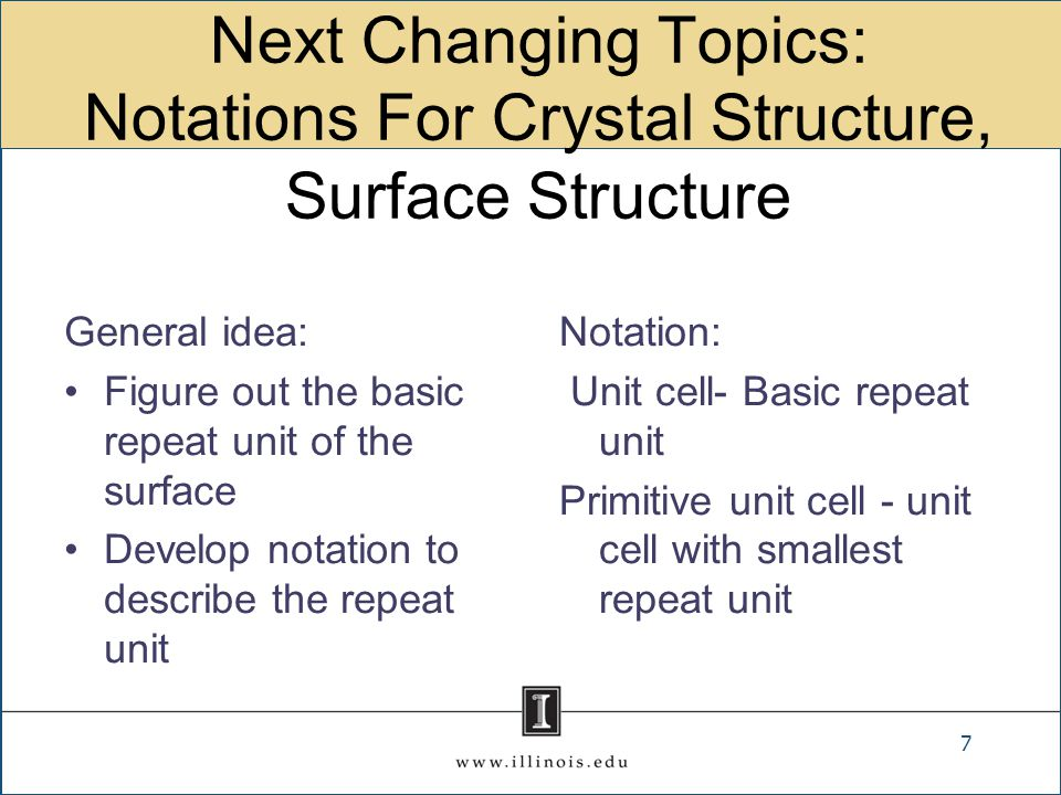 Next Changing Topics: Notations For Crystal Structure, Surface Structure General idea: Figure out the basic repeat unit of the surface Develop notatio