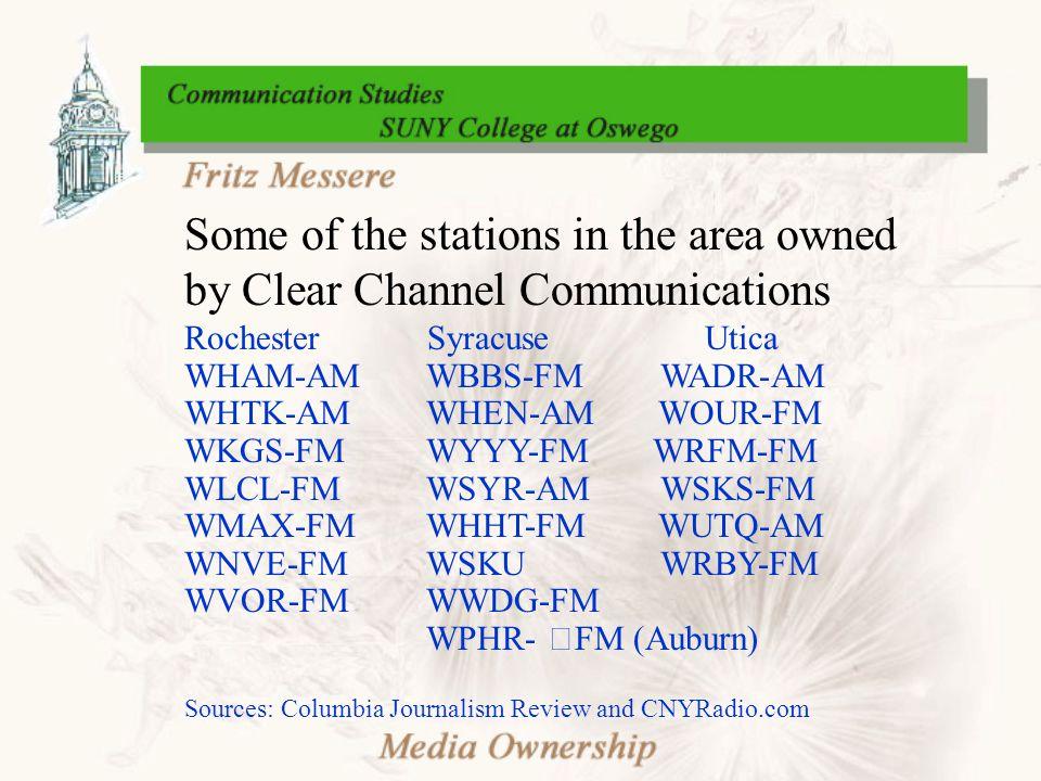 Some of the stations in the area owned by Clear Channel Communications Rochester SyracuseUtica WHAM-AM WBBS-FM WADR-AM WHTK-AM WHEN-AM WOUR-FM WKGS-FM WYYY-FM WRFM-FM WLCL-FM WSYR-AM WSKS-FM WMAX-FM WHHT-FM WUTQ-AM WNVE-FM WSKU WRBY-FM WVOR-FM WWDG-FM WPHR- FM (Auburn) Sources: Columbia Journalism Review and CNYRadio.com