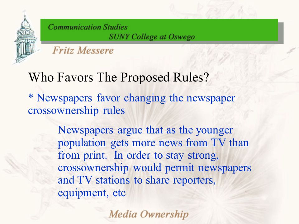 Who Favors The Proposed Rules.