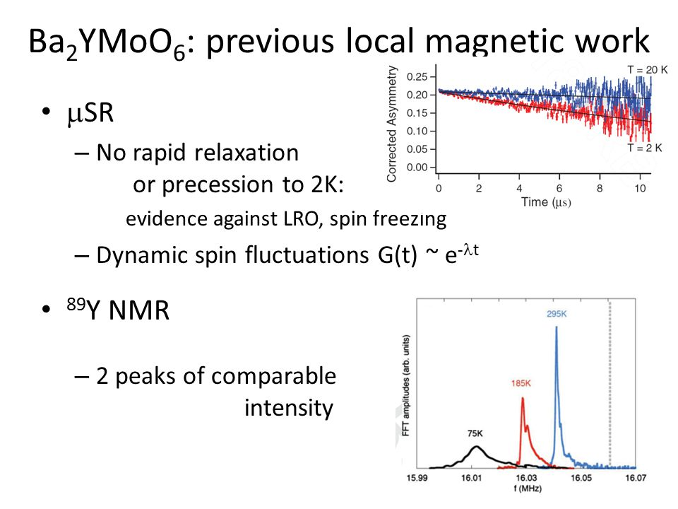 Ba 2 YMoO 6 : previous local magnetic work  SR – No rapid relaxation or precession to 2K: evidence against LRO, spin freezing – Dynamic spin fluctuat