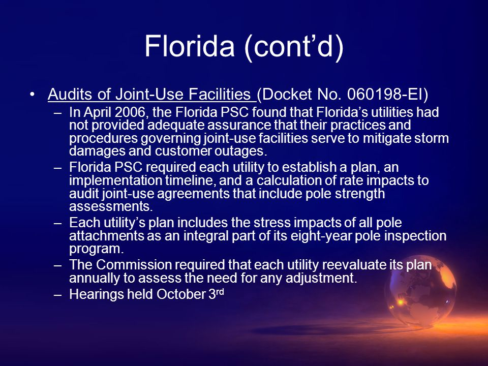 Florida (cont'd) Audits of Joint-Use Facilities (Docket No.