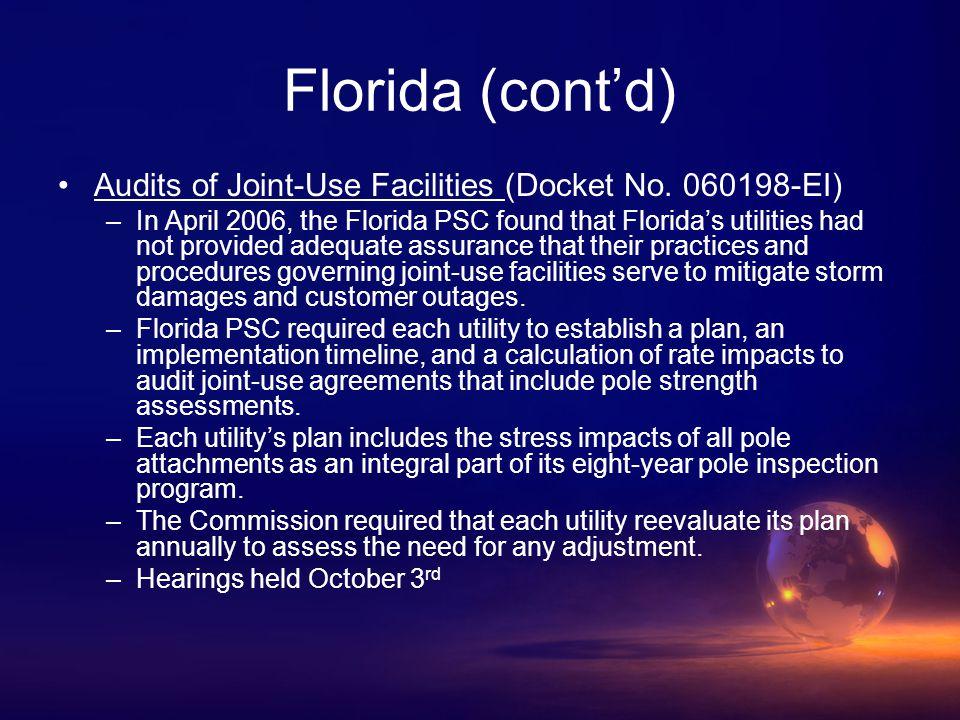 Florida (cont'd) Audits of Joint-Use Facilities (Docket No.