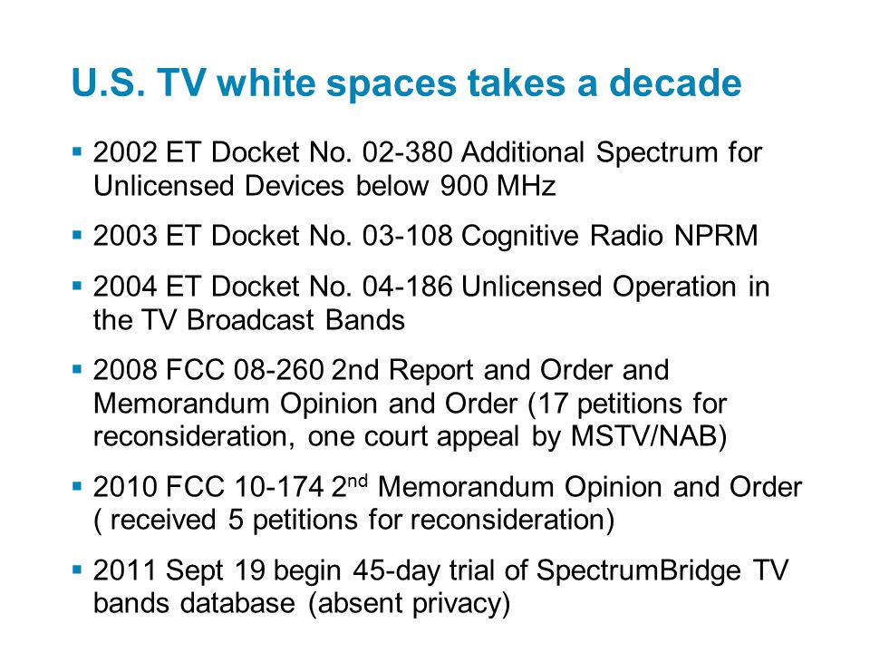 White Space spectrum in the USA.