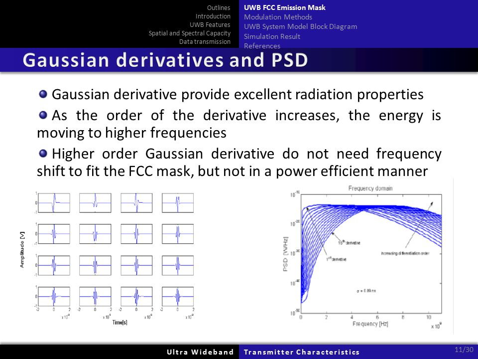 Ultra WidebandUltra WidebandTransmitter CharacteristicsTransmitter Characteristics 11/30 Gaussian derivative provide excellent radiation properties As the order of the derivative increases, the energy is moving to higher frequencies Higher order Gaussian derivative do not need frequency shift to fit the FCC mask, but not in a power efficient manner Outlines Introduction UWB Features Spatial and Spectral Capacity Data transmission UWB FCC Emission Mask Modulation Methods UWB System Model Block Diagram Simulation Result References