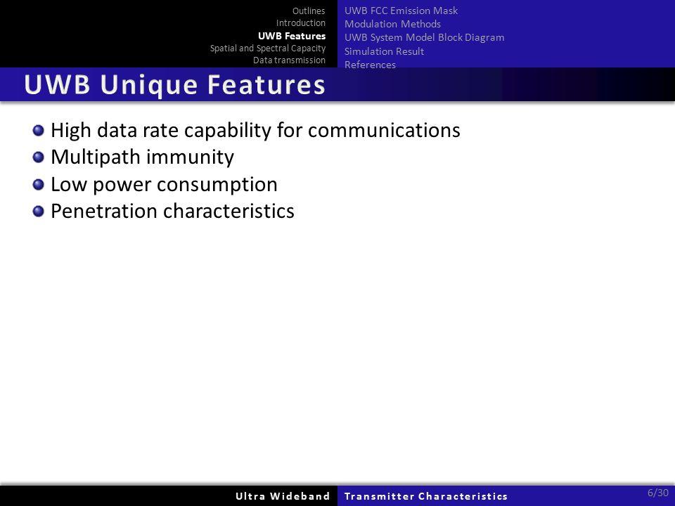 High data rate capability for communications Multipath immunity Low power consumption Penetration characteristics Ultra WidebandUltra WidebandTransmit