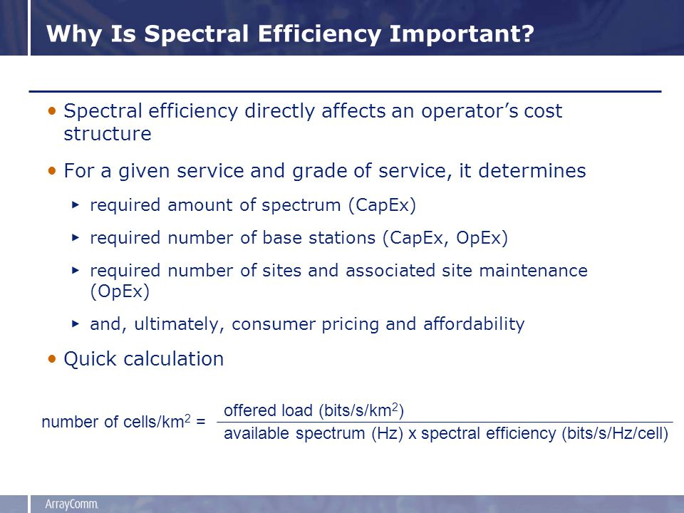 Why Is Spectral Efficiency Important.