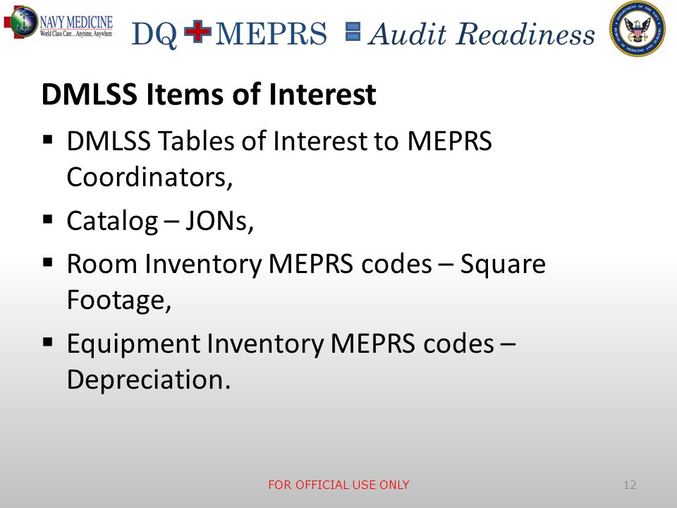 DQ MEPRS Audit Readiness DMLSS Items of Interest  DMLSS Tables of Interest to MEPRS Coordinators,  Catalog – JONs,  Room Inventory MEPRS codes – Sq