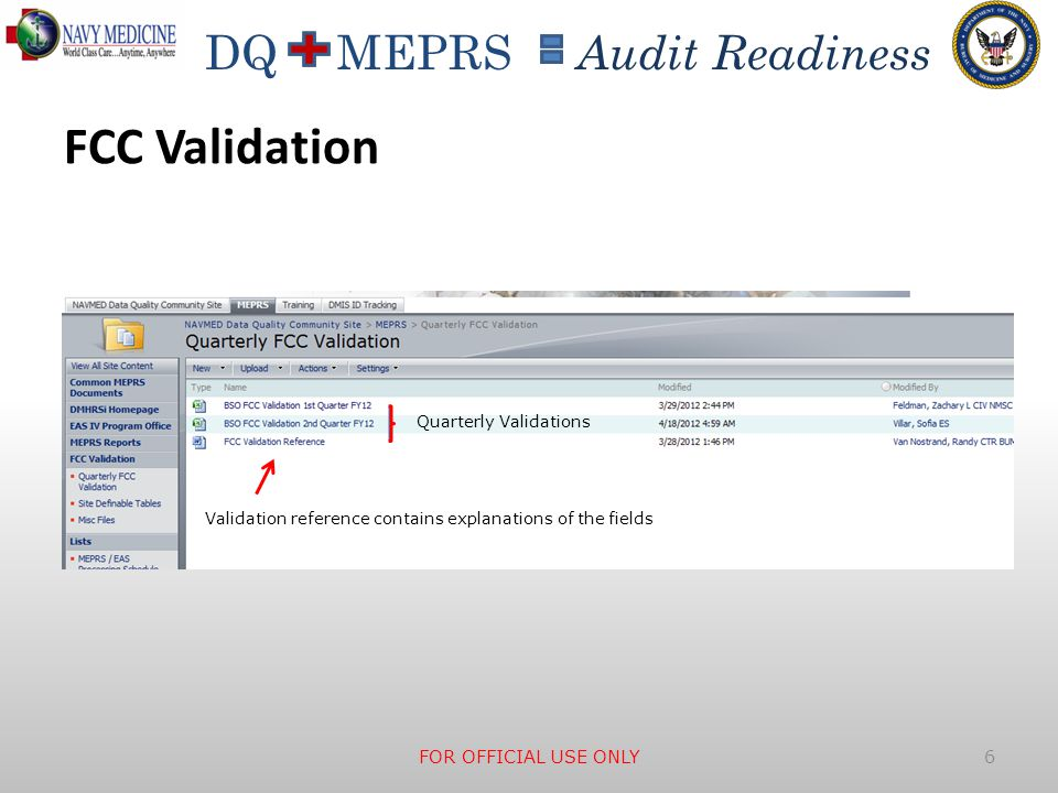 DQ MEPRS Audit Readiness FCC Validation  Demonstration, Explanation, Discussion and Questions on FCC Validation  How to address the I'm special communities FOR OFFICIAL USE ONLY 7