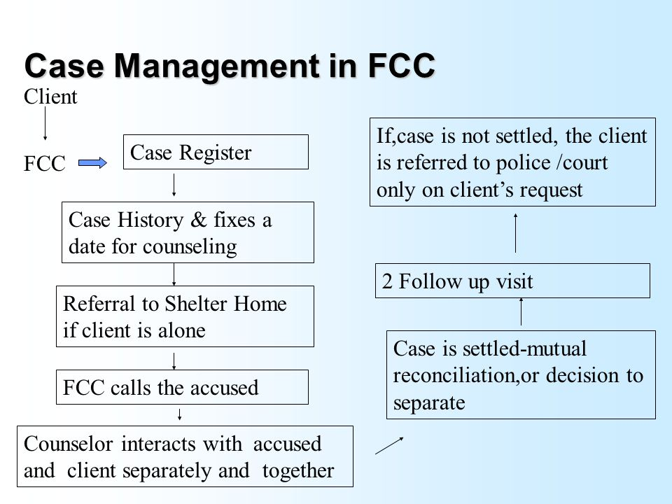 Client Flow FCC Police Station CourtCommunity Other Departments like DWCD