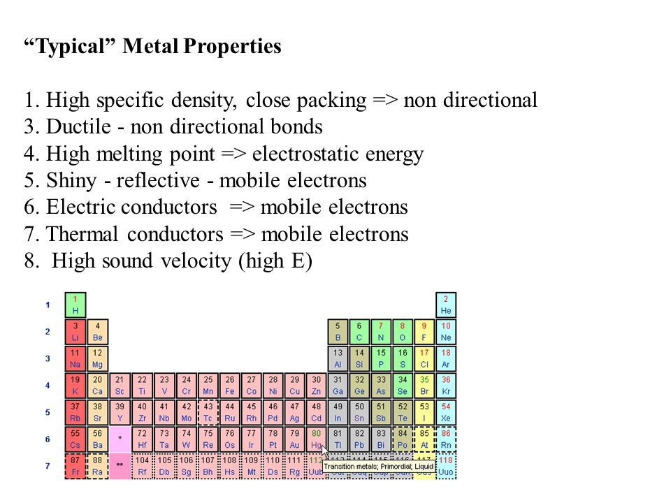 """Typical"" Metal Properties 1. High specific density, close packing => non directional 3. Ductile - non directional bonds 4. High melting point => elec"