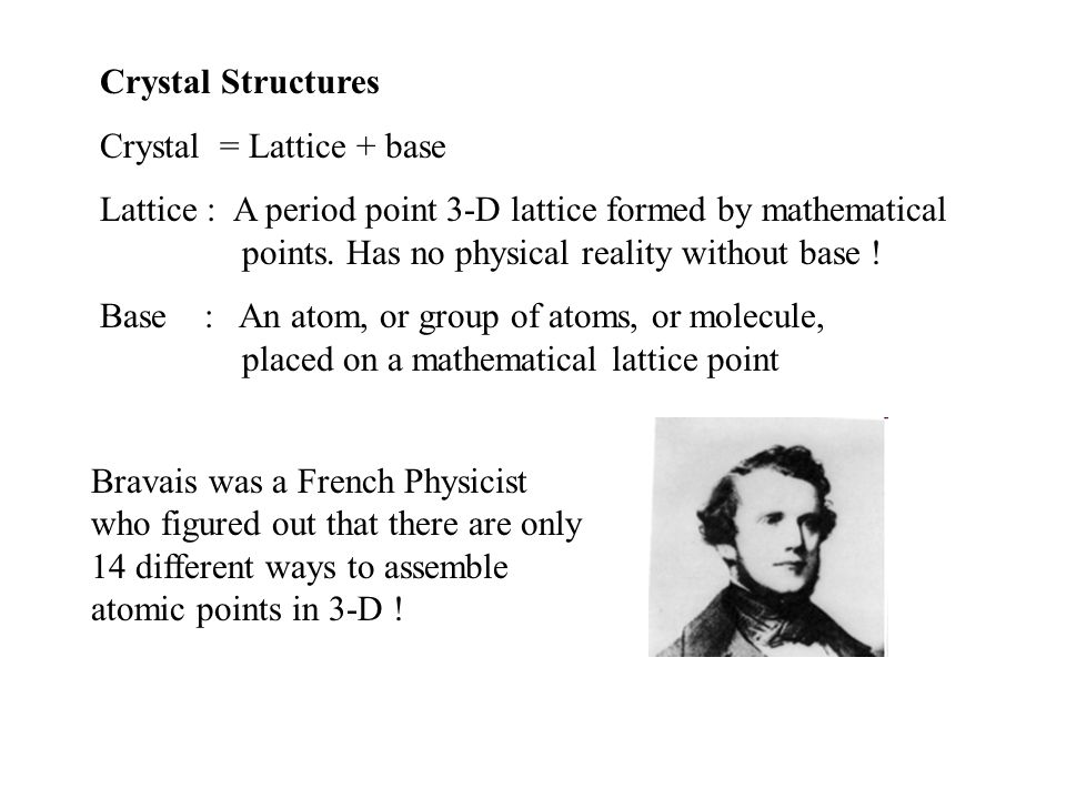 Crystal Structures Crystal = Lattice + base Lattice : A period point 3-D lattice formed by mathematical points.