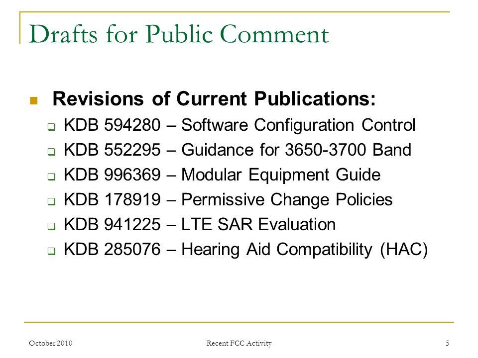 October 2010 Recent FCC Activity 6 Equipment Authorization Certification Trends