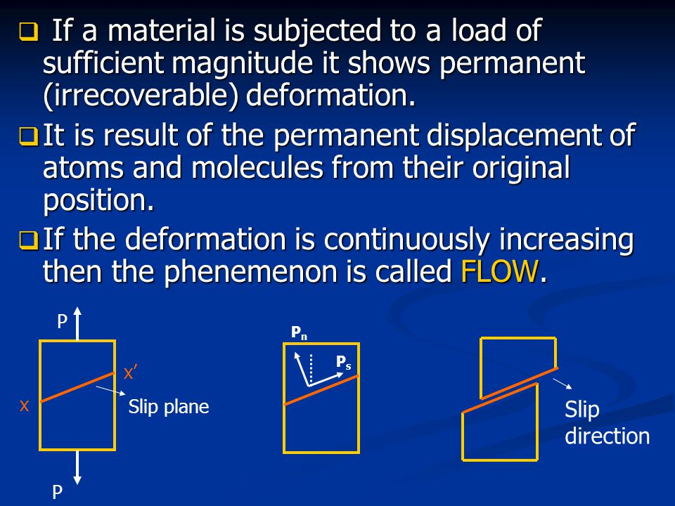  If a material is subjected to a load of sufficient magnitude it shows permanent (irrecoverable) deformation.  It is result of the permanent displac