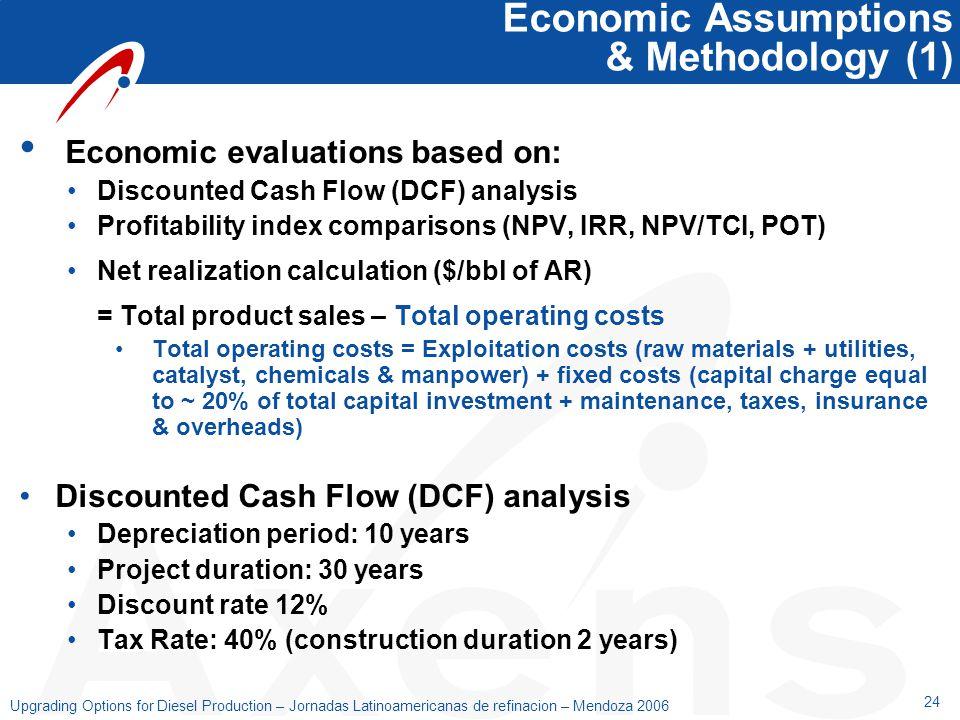 24 Upgrading Options for Diesel Production – Jornadas Latinoamericanas de refinacion – Mendoza 2006 Economic Assumptions & Methodology (1) Economic ev