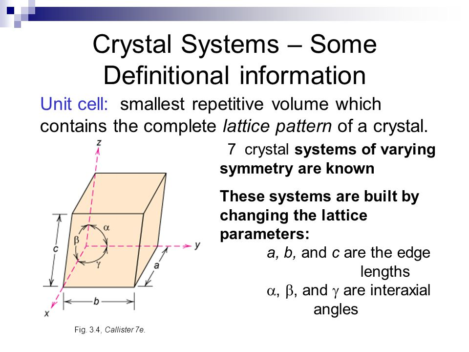 Crystal Systems – Some Definitional information 7 crystal systems of varying symmetry are known These systems are built by changing the lattice parameters: a, b, and c are the edge lengths , , and  are interaxial angles Fig.