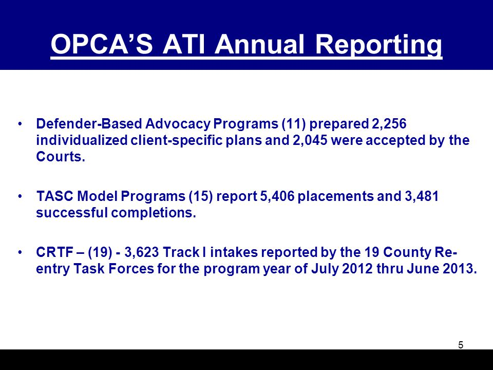 OPCA'S ATI Annual Reporting Defender-Based Advocacy Programs (11) prepared 2,256 individualized client-specific plans and 2,045 were accepted by the C