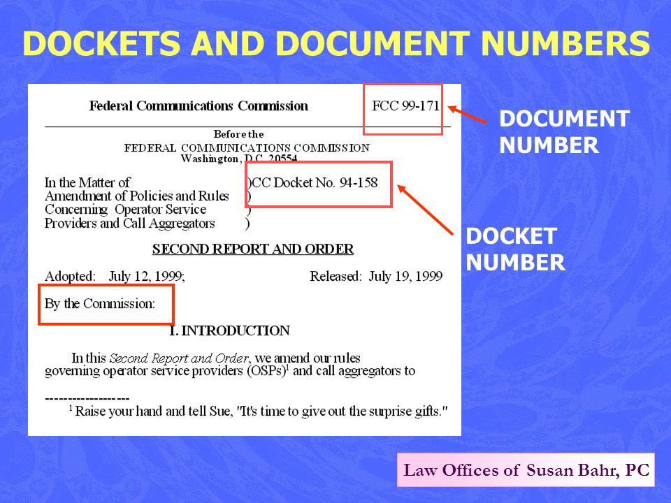 Law Offices of Susan Bahr, PC DOCKETS AND DOCUMENT NUMBERS DOCUMENT NUMBER DOCKET NUMBER