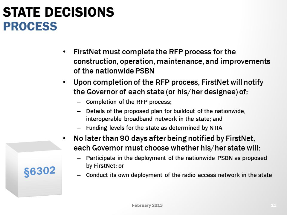 FirstNet must complete the RFP process for the construction, operation, maintenance, and improvements of the nationwide PSBN Upon completion of the RFP process, FirstNet will notify the Governor of each state (or his/her designee) of: – Completion of the RFP process; – Details of the proposed plan for buildout of the nationwide, interoperable broadband network in the state; and – Funding levels for the state as determined by NTIA No later than 90 days after being notified by FirstNet, each Governor must choose whether his/her state will: – Participate in the deployment of the nationwide PSBN as proposed by FirstNet; or – Conduct its own deployment of the radio access network in the state PROCESS STATE DECISIONS 11February 2013