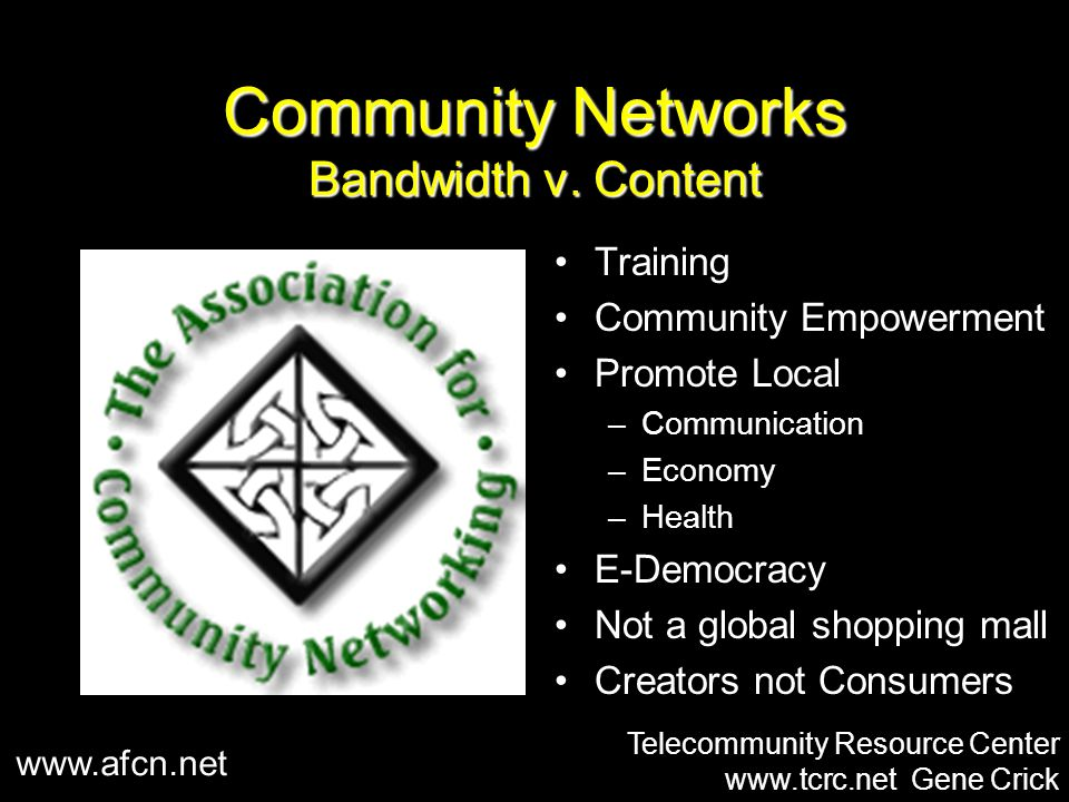Community Networks Bandwidth v.