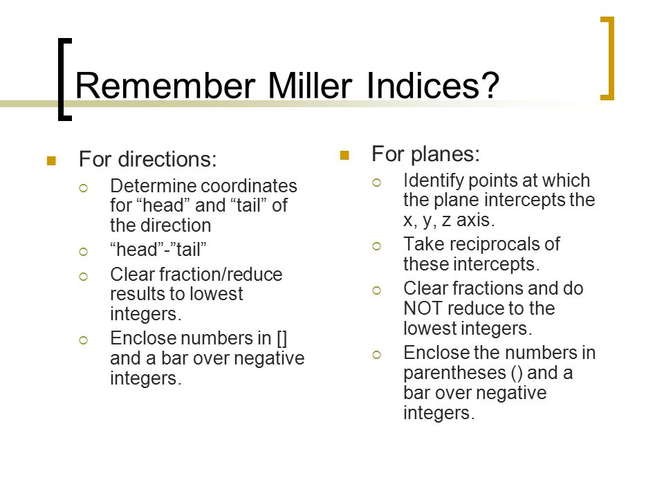 Remember Miller Indices.