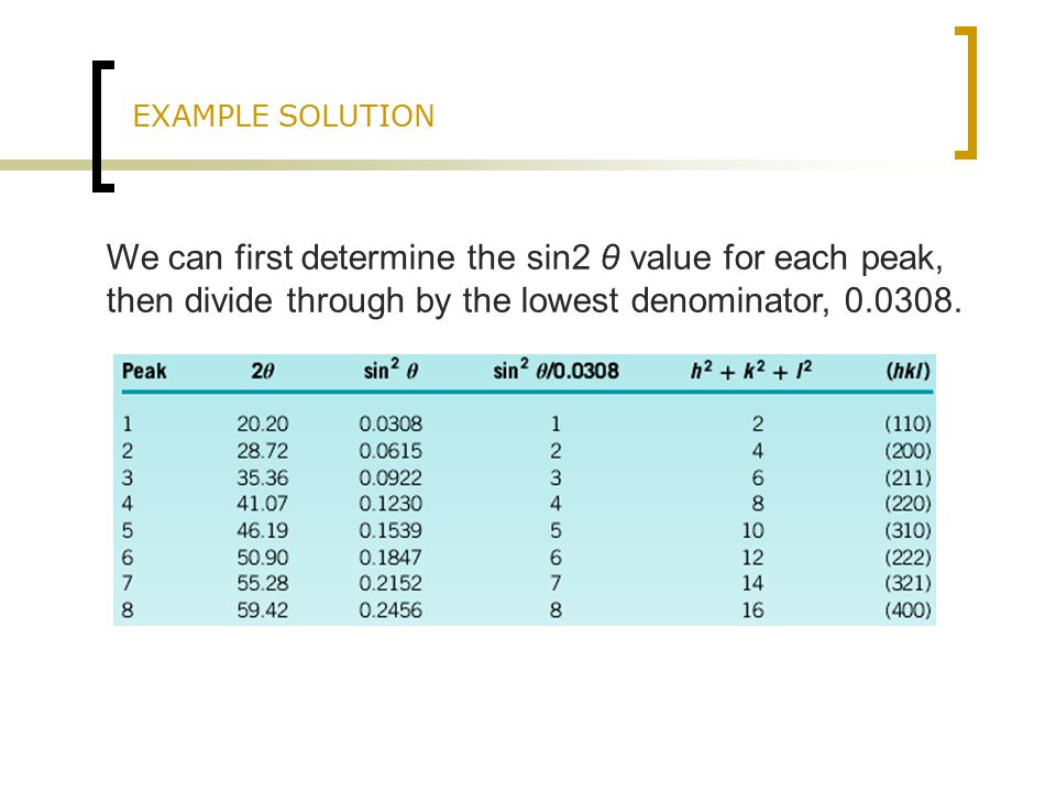 EXAMPLE SOLUTION We can first determine the sin2 θ value for each peak, then divide through by the lowest denominator,