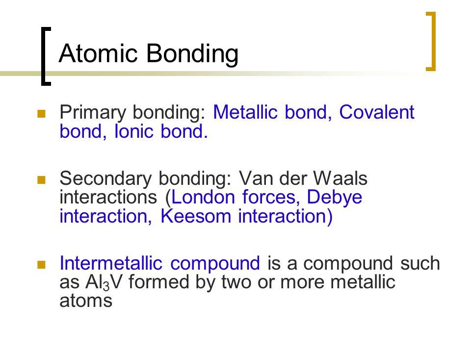 Atomic Bonding Primary bonding: Metallic bond, Covalent bond, Ionic bond.