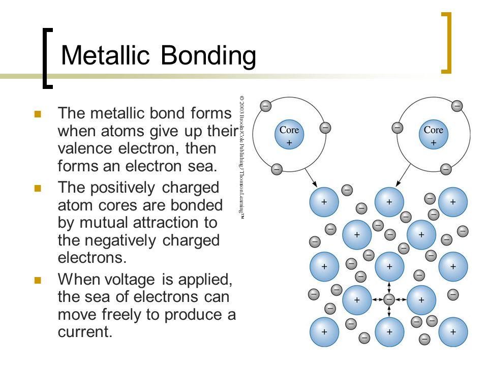 Metallic Bonding The metallic bond forms when atoms give up their valence electron, then forms an electron sea.
