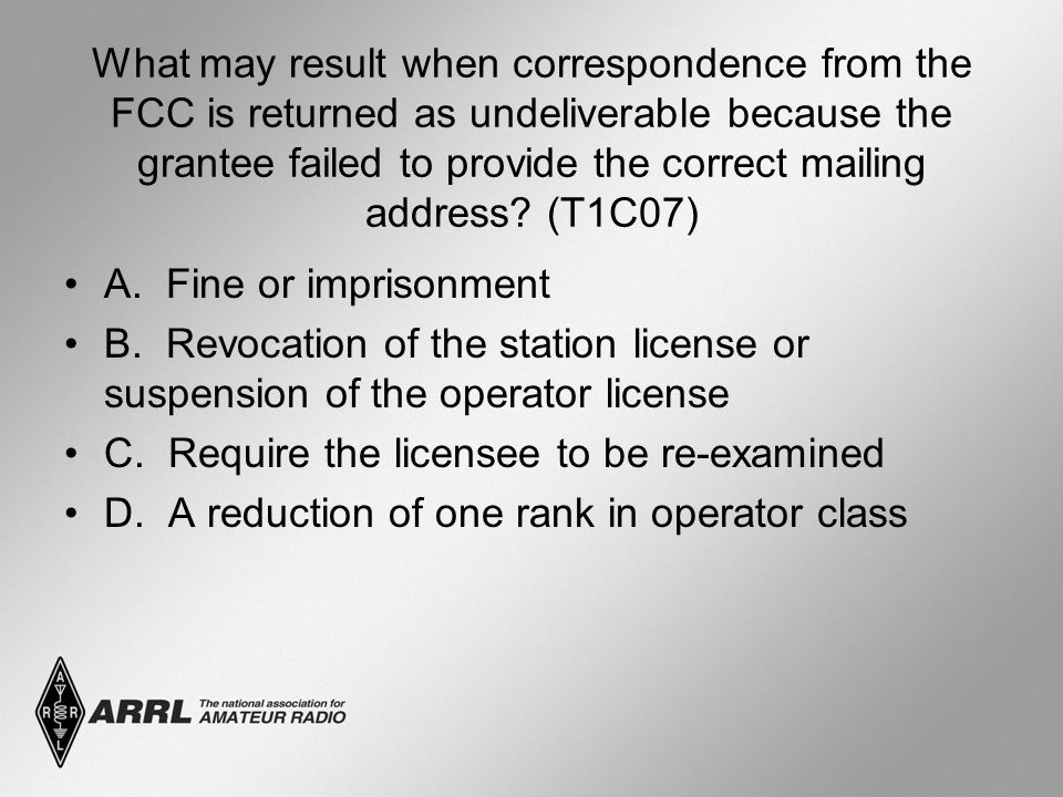 What may result when correspondence from the FCC is returned as undeliverable because the grantee failed to provide the correct mailing address.