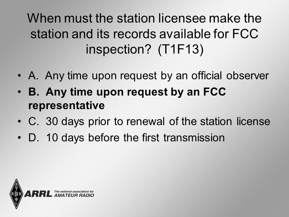 When must the station licensee make the station and its records available for FCC inspection.