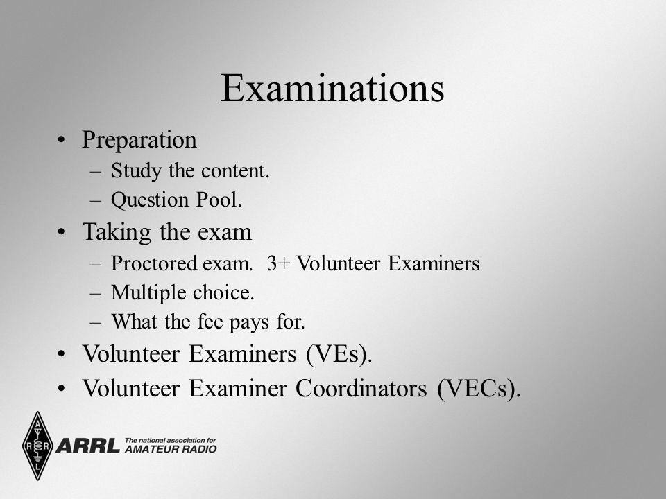 Examinations Preparation –Study the content. –Question Pool.