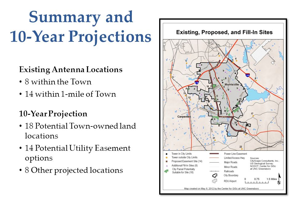 Summary and 10-Year Projections Existing Antenna Locations 8 within the Town 14 within 1-mile of Town 10-Year Projection 18 Potential Town-owned land locations 14 Potential Utility Easement options 8 Other projected locations