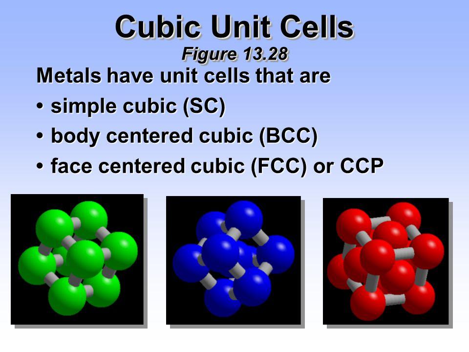 Cubic Unit Cells Figure 13.28 Metals have unit cells that are simple cubic (SC)simple cubic (SC) body centered cubic (BCC)body centered cubic (BCC) fa