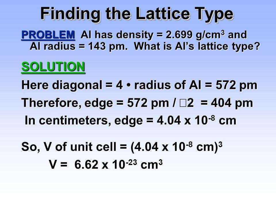 Finding the Lattice Type PROBLEM Al has density = 2.699 g/cm 3 and Al radius = 143 pm. What is Al's lattice type? SOLUTION Here diagonal = 4 radius of